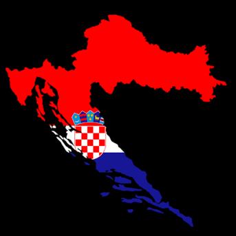 מפת קרואטיה ודגלה