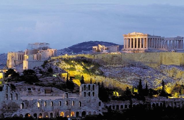 מפת יוון גבעת האקרופוליס, אתונה