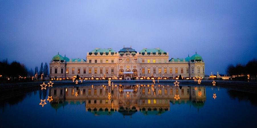 ארמון בלוודר בשעות הערב, וינה